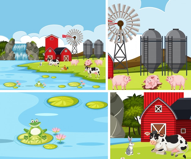 Simple farm background set