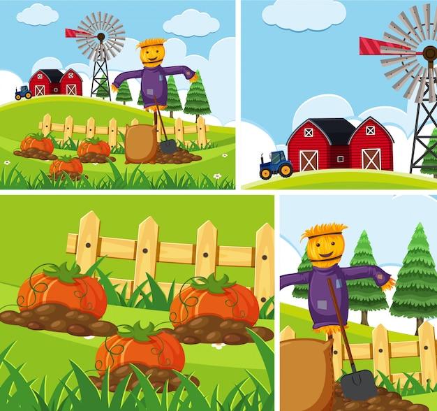 간단한 농장 배경 세트