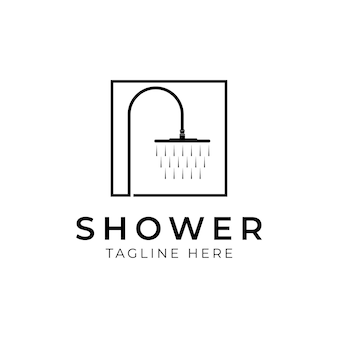 간단한 수도꼭지 샤워 배관 로고. 현대적인 선 스타일의 샤워 아이콘 또는 로고