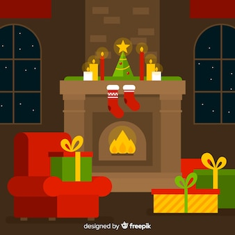 Simple fireplace christmas illustration