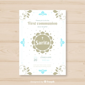 Simple first communion invitation
