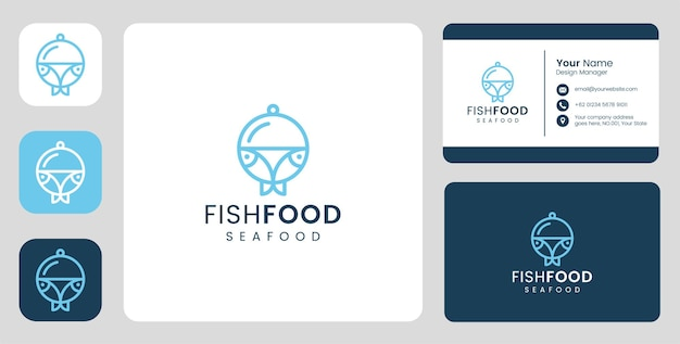 Логотип simple fish со стационарным шаблоном