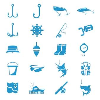 Simple fishing tool equipment icon set
