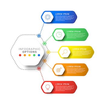Simple five steps design layout infographic template with hexagonal elements. business process diagram