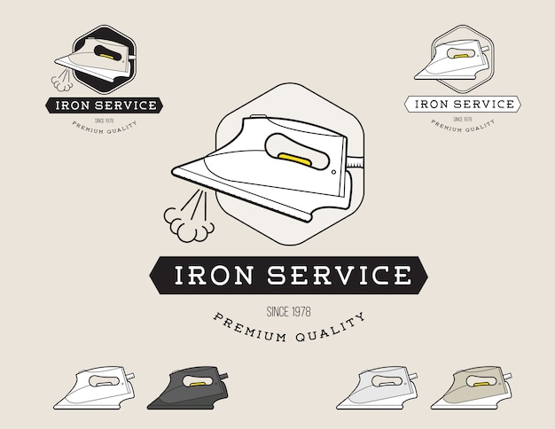 Simple flat black and steam iron cleaning service logotype