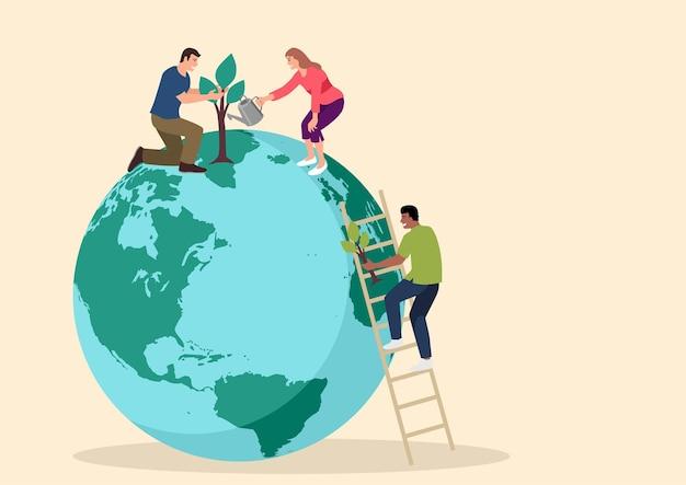 지구 국제 지구의 날에 식물에 물을주는 간단한 평면 만화 인물 프리미엄 벡터