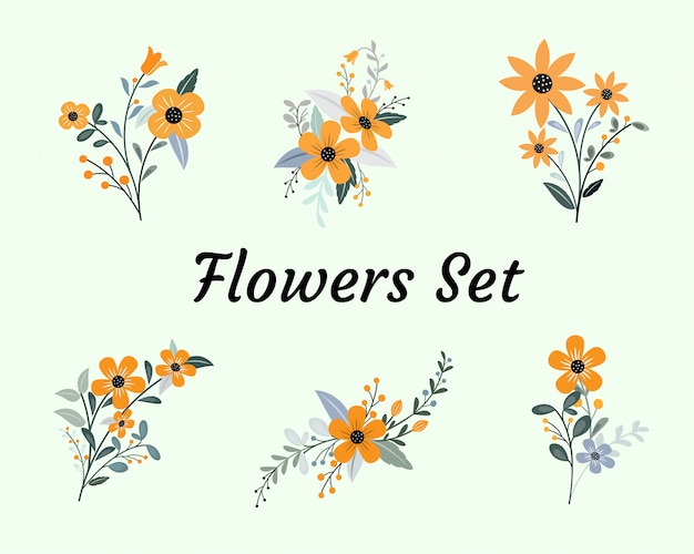Simple flat collection floral set material design