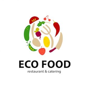 シンプルなフラットフードのロゴ。レストラン、カフェ、ケータリング記章。食品アイコン。新鮮な野菜のアイコンが白い背景で隔離。