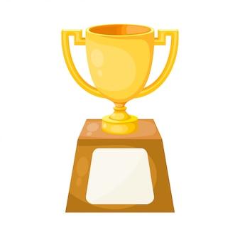 Простой плоский обладатель золотого кубка с двумя ручками