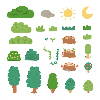 Simple flat green nature doodle asset collection by arkana studio
