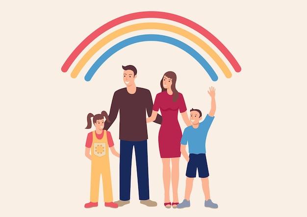 Simple flat happy family, cute cartoon