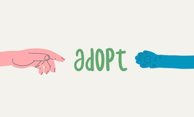 Простая плоская иллюстрация, призывающая к усыновлению животных из приюта