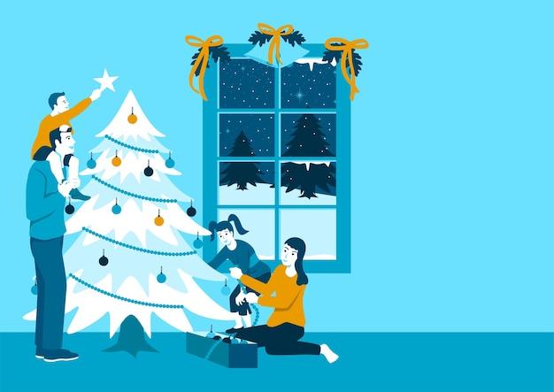 クリスマスツリーを飾る幸せな家族のシンプルなフラットイラスト