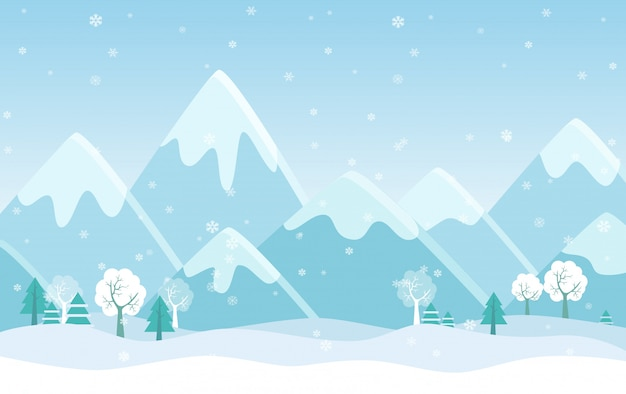 Simple flat illustration of winter mountains landscape with trees, pines and hills.
