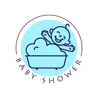 Simple flat kid logo. baby, child  goods, toys shop, store. children icon, baby character. happy kid sitting in the bath isolated on white background. baby shower logo, baby care cosmetic.