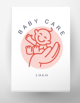 Simple flat kid logohuman icon. children icon, animal character. flat simple card, poster, advertising, banner collection. hand holding smiling baby isolated