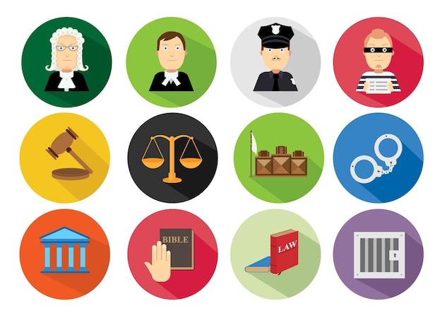 Simple flat law icon set