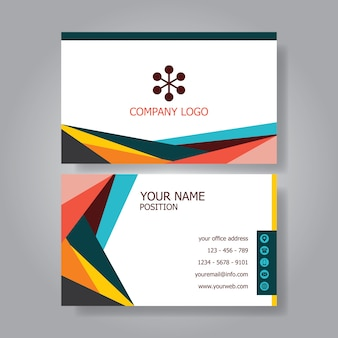 Simple flat retro modern colorful business card