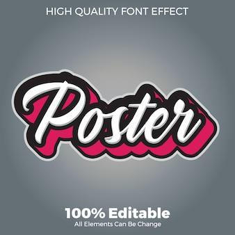 Simple flat script text style editable font effect