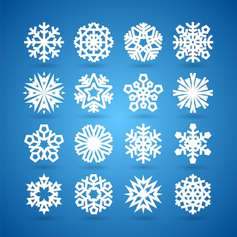 Simple flat snowflakes set for winter and christmas desing