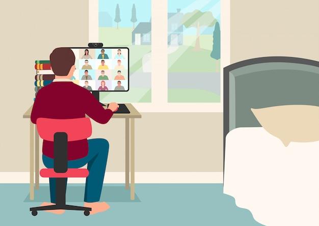 Простые плоские векторные иллюстрации шаржа онлайн-обучения молодого мальчика, студента, имеющего видеоконференцию с учителем и группой класса