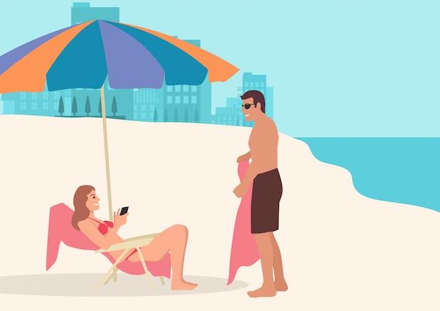ビーチで日光浴をしているカップルのシンプルなフラットベクトル漫画イラスト