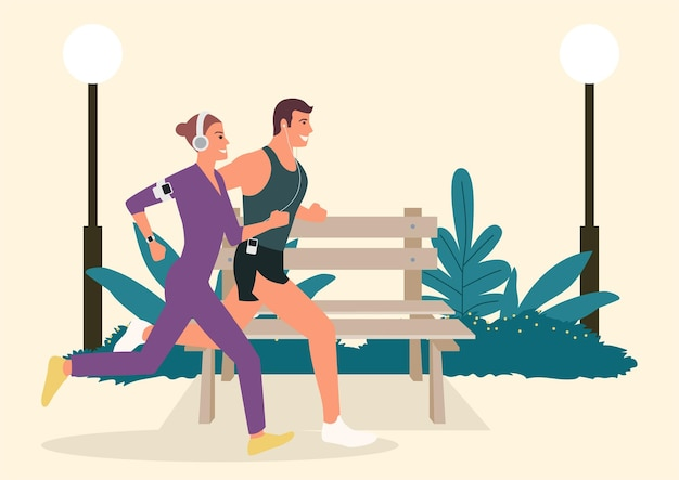 Simple flat vector illustration of couple jogging and running outdoors in the park