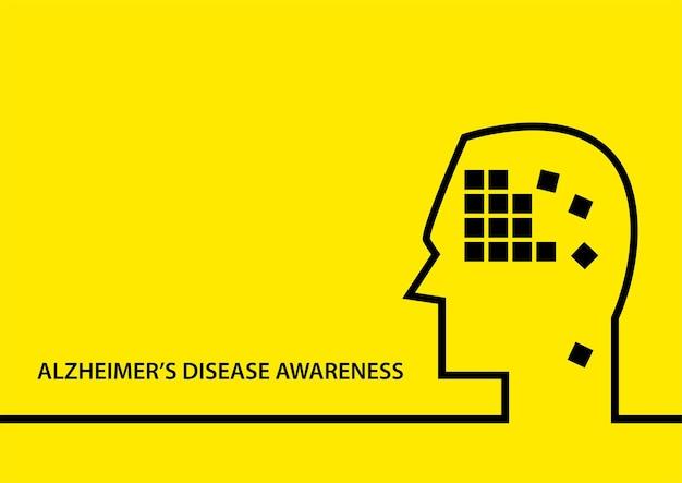 アルツハイマー病の認識のためのシンプルなフラットベクトル図