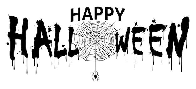 Simple flat vector illustration of happy halloween text for banner and title