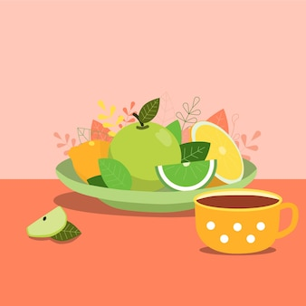テーブルの正面図の果物とお茶の食べ物のシンプルなフラットベクトルイラスト