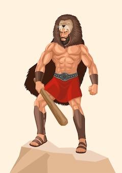 ギリシャ神話の神の英雄ヘラクレスまたはヘラクレスのシンプルなフラットベクトルイラスト