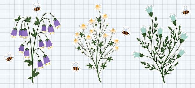飛んでいる蜂とシンプルな平らな野生の花2。