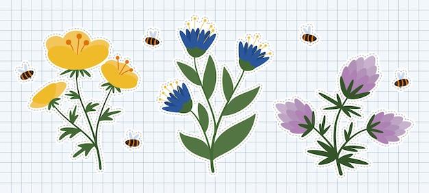 飛んでいる蜂とシンプルな平らな野生の花