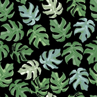 Simple floral seamless doodle pattern with monstera ornament.