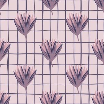チューリップの芽を持つシンプルな花柄シームレスパターン。チェックと灰色の背景に紫の花飾り。