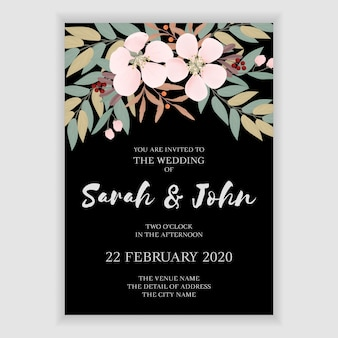 Simple floral wedding invitation template