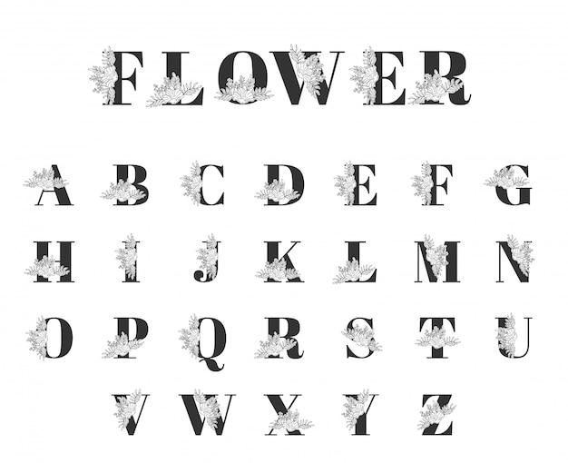 シンプルなフラワーラインアート植物フォントコレクション