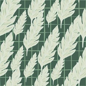 Бесшовный узор простой листвы на зеленом фоне. минималистичный орнамент из листьев.