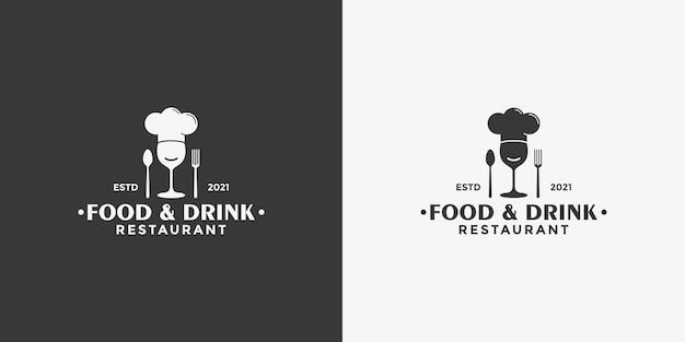 Простой дизайн логотипа в винтажном стиле с едой и напитками для вашего ресторана
