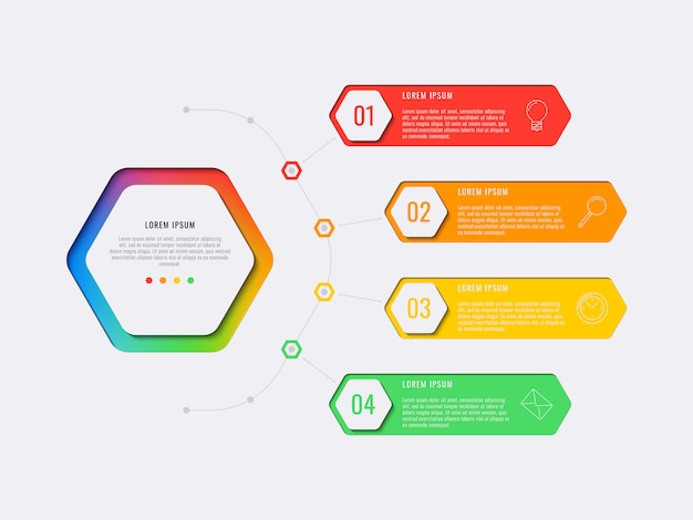 Simple four steps design layout infographic template with hexagonal elements.
