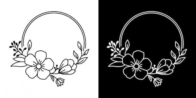 花モノラインデザインのシンプルなフレーム
