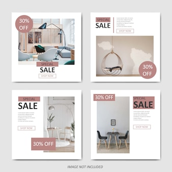 Simple furniture sale template for social media post