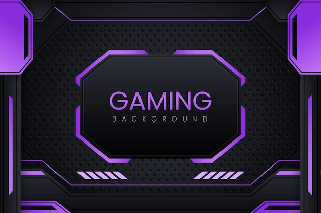 Simple gaming background with dark purple gradient vector design and geometry ornament