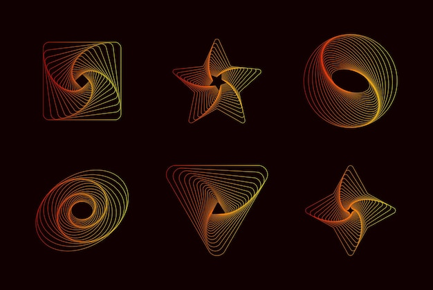 독특한 디자인을 위한 간단한 기하학적 추상 패턴 유행 벡터 그래픽 요소
