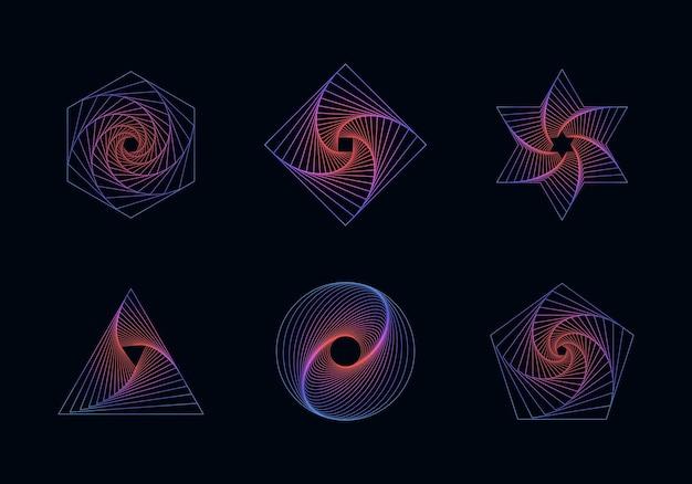 독특한 디자인을위한 간단한 기하학적 추상 패턴 유행 벡터 그래픽 요소