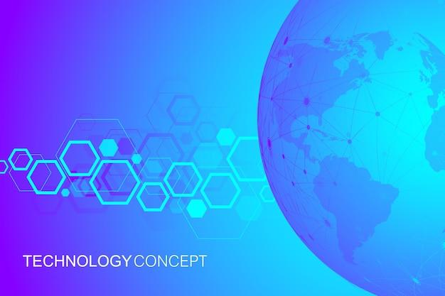 単純な幾何学的な抽象的なベクトル図。接続された線と点を持つ技術の背景。将来の世界プロジェクトのための最新の技術設計世界地図。