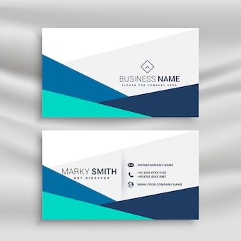 Simple geometric blue business card template
