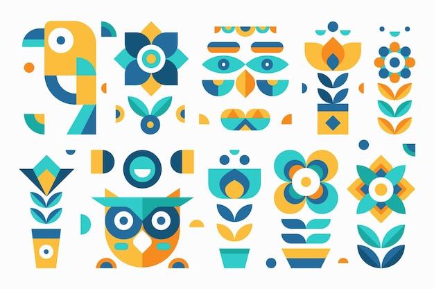 Simple geometric elements flat design pack