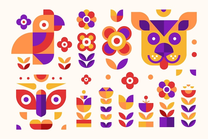 Simple geometric elements flat design set
