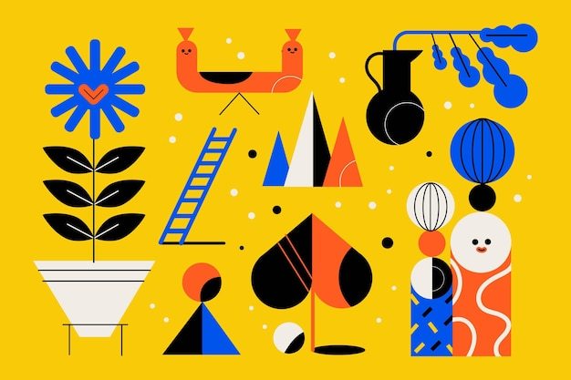Semplici elementi geometrici in design piatto